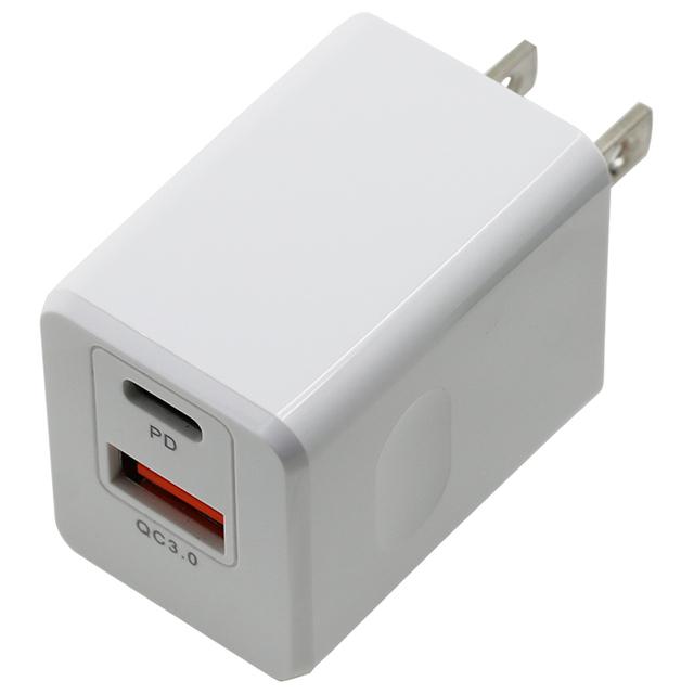 PD&QC対応Type-C/1USBポートAC充電器18W
